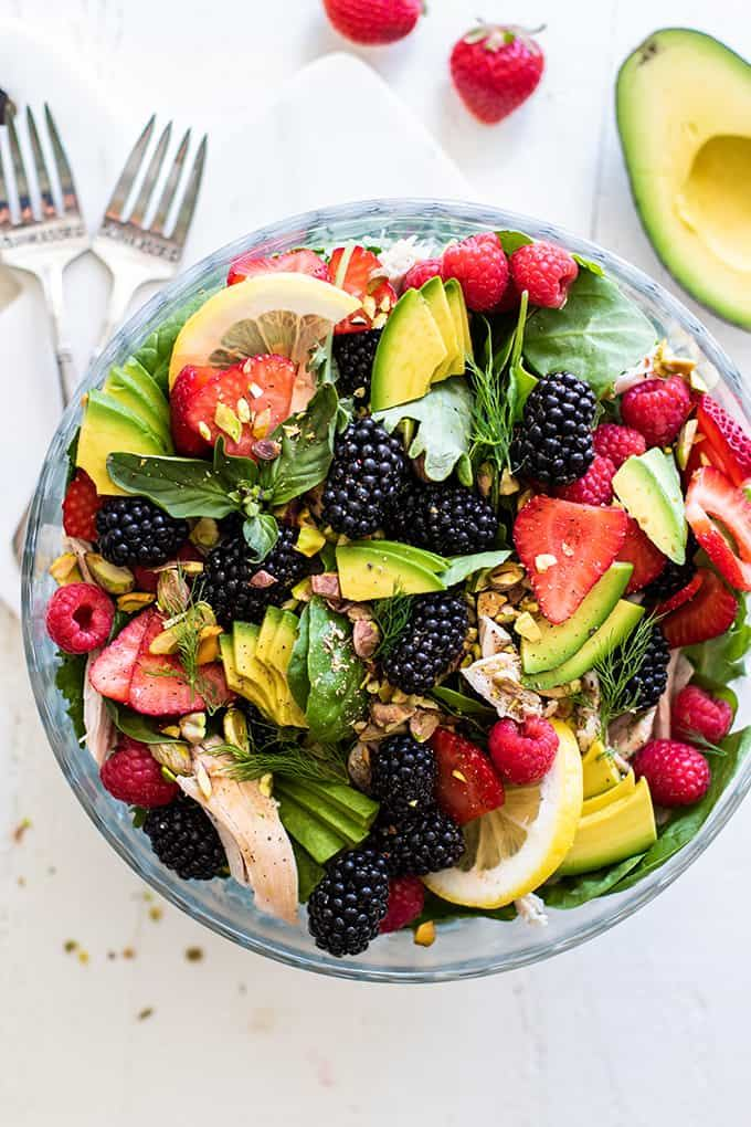 Chicken Blackberry Salad with Basil Dressing