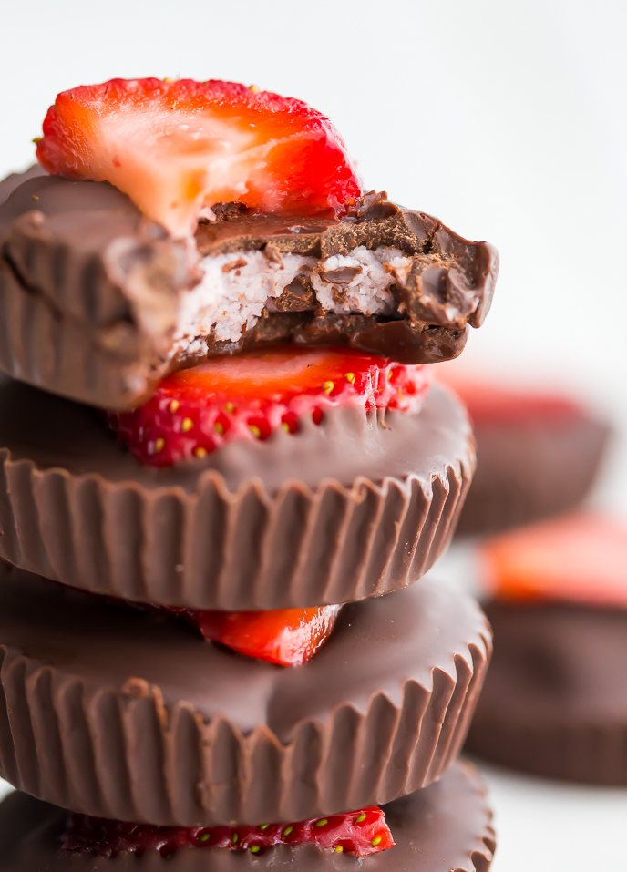 Paleo Chocolate Strawberry Coconut Butter Cups (Vegan)